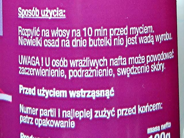New ANNA Cosmetics - Nafta kosmetyczna z aloesem, etykieta