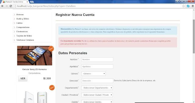 tienda online php mysql registro