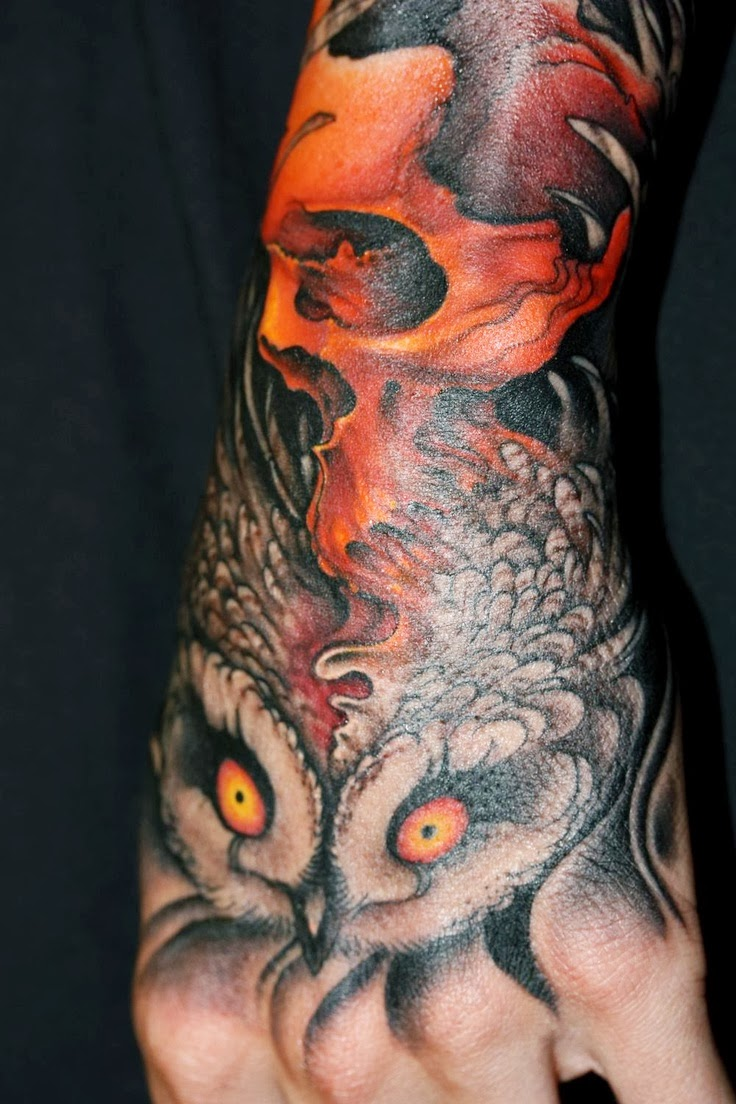 Owl And Red Skull Tattoo Design On Arm Ideas