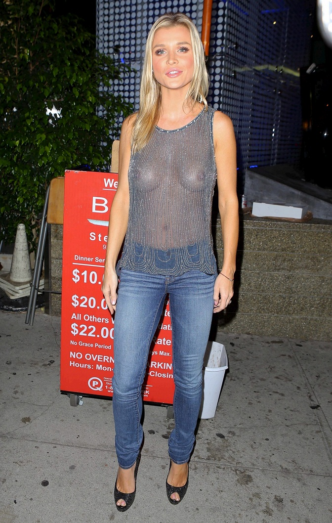 Joanna Krupa - Braless & See Through Candids in Beverly Hills
