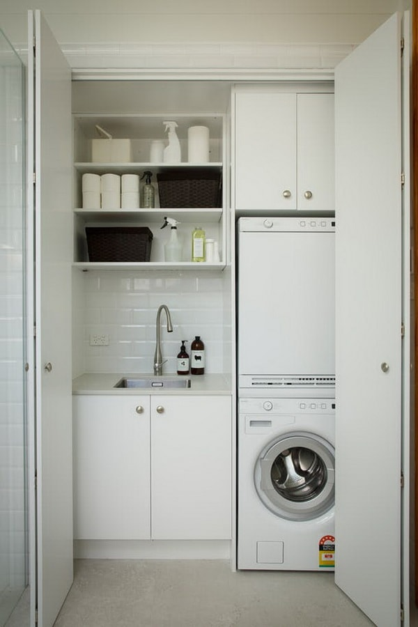 DIY Small Laundry Room Organization Ideas With Top Loading Washer 8