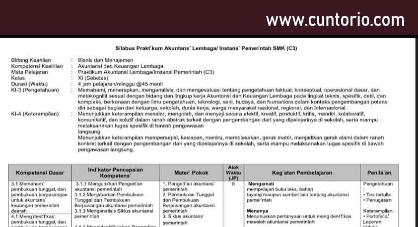 Silabus Praktikum Akuntansi Lembaga Instansi Pemerintah SMK (C3)