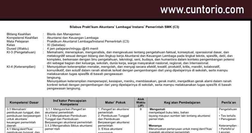 Guru K13 Silabus Praktikum Akuntansi Lembaga Instansi Pemerintah Smk C3 Drivedocx