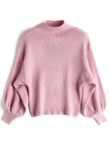 Lantern Sleeve Mock Neck Sweater – Pink
