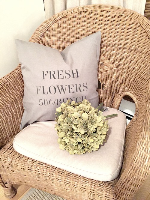 DIY stenciled fresh flower pillow cover