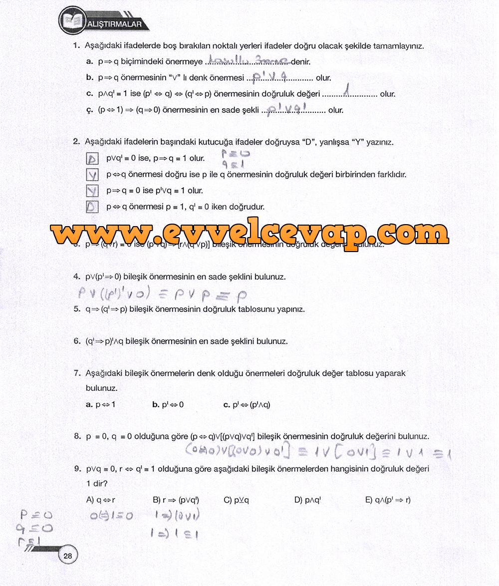 9. Sınıf Ödev Yayınları Matematik 28. Sayfa Cevapları