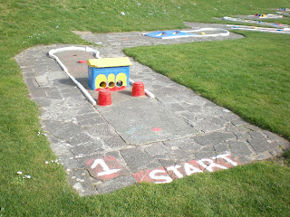 The start hole of the colourful old concrete Crazy Golf course in New Brighton