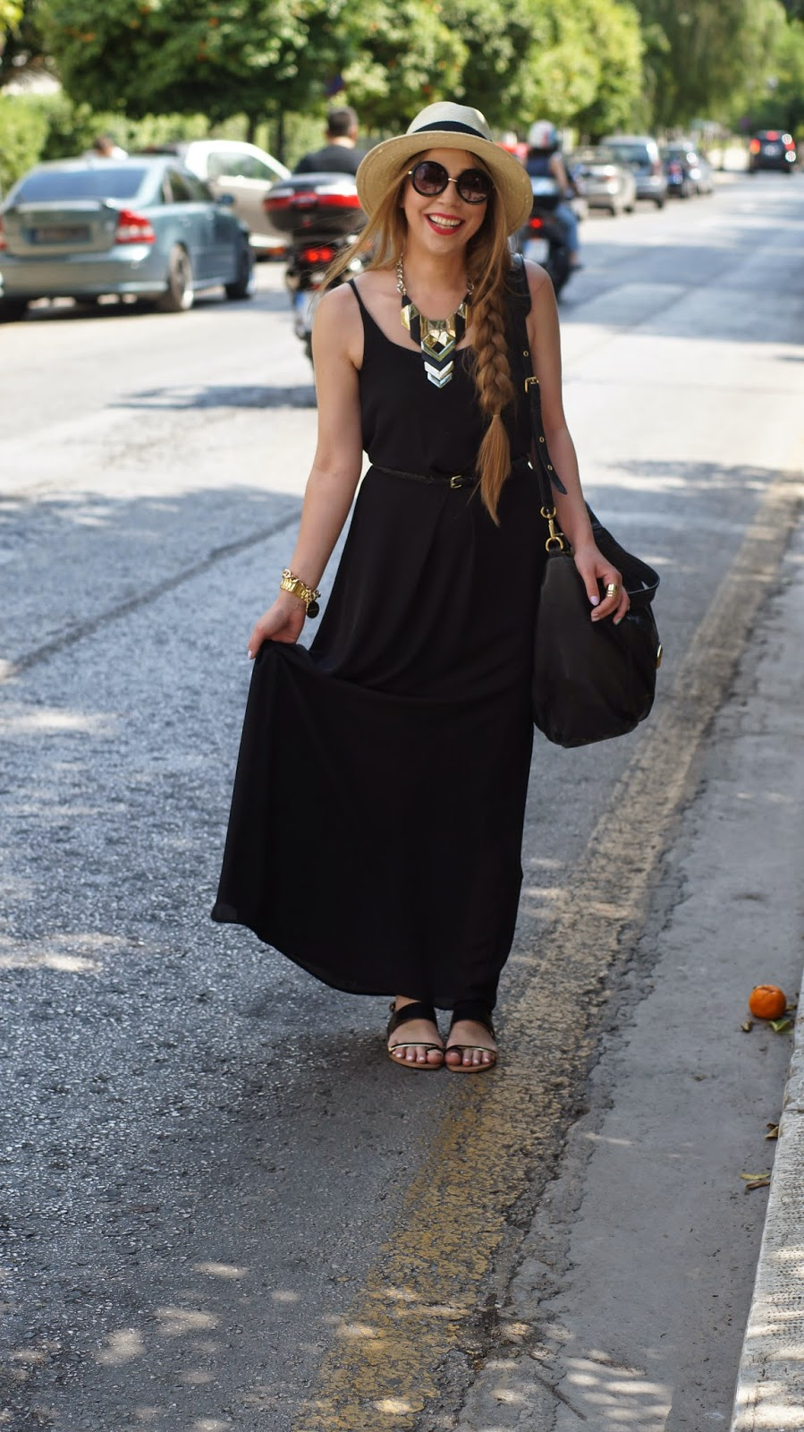 Maxi dress black h&m blazer with zipper sleeves