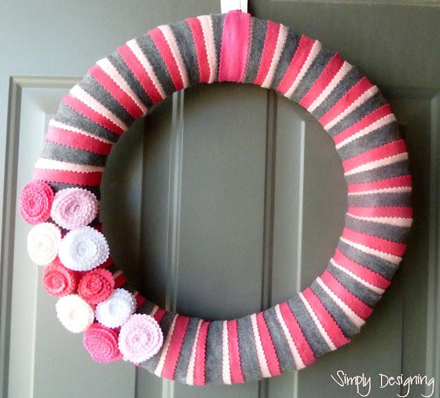 felt wreath pink grey spring 06a Simple Spring Felt Wreath 20