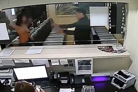 Omg! Woman Strips Half-n*ked and Uses Her Breasts as Weapon to Fight Security Man Inside a Shop (Photos)