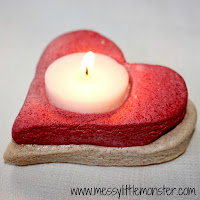 valentines day craft ideas for kids:  salt dough heart candle