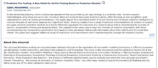 Advertising Pre-testing research paper Applied Econometrics & Modeling eJournal
