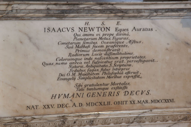 Sir Isaac Newton's memorial above his grave. Photos by http://www.westminster-abbey.org/visit-us/picture-gallery
