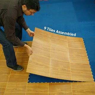 Greatmats portable dance floor tile over carpet