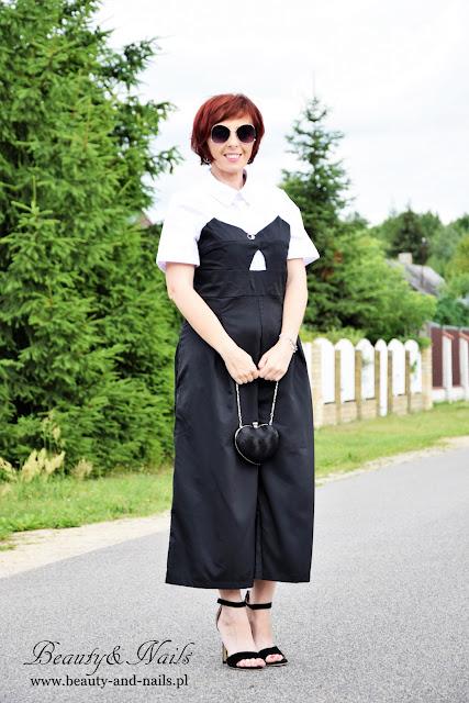 ZAFUL - czarno biały kombinezon/jumpsuit.