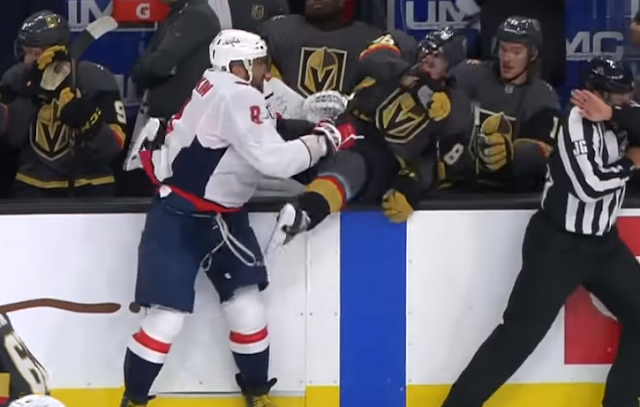 Alex Ovechkin checks Nate Schmidt into Golden Knights bench 2/17/2020