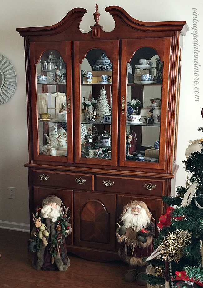 Vintage Paint and more... a dated china cabinet before it's trendy farmhouse update done with paint