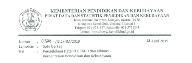 Surat Edaran Pengelolaan Data PTK PAUD dan DIKMAS