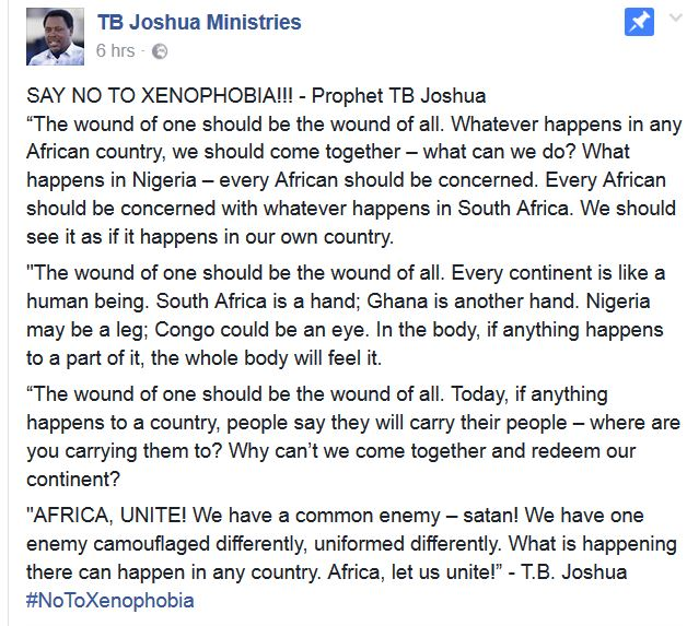 TEXT/VIDEO: SAY NO TO XENOPHOBIA!!! - Prophet TB Joshua