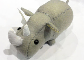 Little Rhino Rhinoceros stuffed animal or plushie in grey gray plush horns handmade stitched horns baby girl boy nursery art unisex neutral zoo jungle animal circus