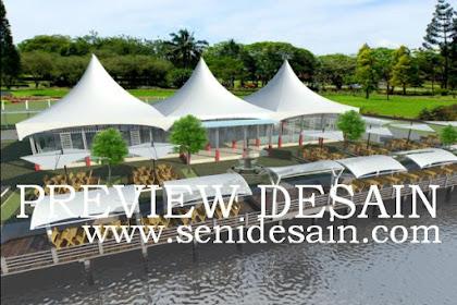 Jasa design pujasera modern tempat makan area danau