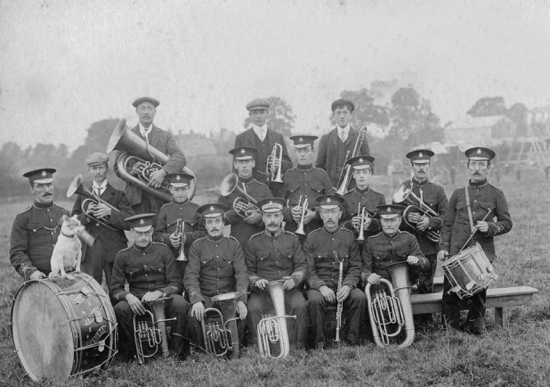 Photograph of The North Mymms brass band which flourished for about thirty years. H. Good, ? ?, A. Marsden, C. Hickson, R. Canham, T. Pollard, W. Collins, B. Young, C. Wheeler, F. Wheeler, F. Aslett, H. Page, R. Marsden. Picture taken about 1910.
