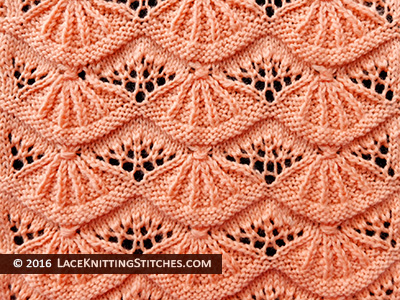 Lace knitting stitch # 42. Alsacian Scallops. Skill Level: Intermediate