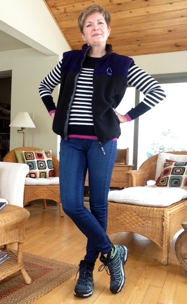 Massimo Dutti sweater, Paige high rise jeans, Salomon hiking boots, Columbia fleece vest