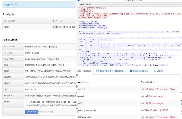 Tráfico de 2014 con la cadena y la descarga del binario Conficker