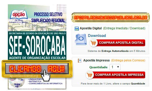 Apostila Concurso SEE SP 2017 Sorocaba PDF Agente de Organização Escolar