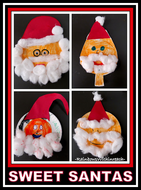 Santa Portraits with Cotton Ball Beards via RainbowsWithinReach