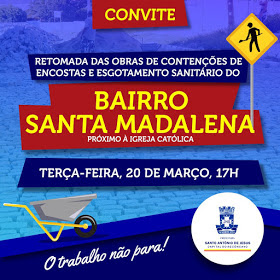 SAJ: Prefeitura retoma obras de urbanização no Bairro Santa Madalena
