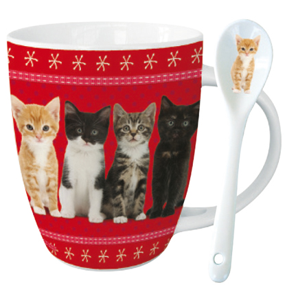 cat cocoa mug spoon