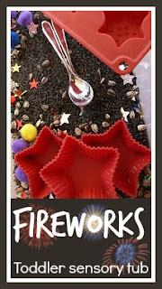 Firework toddler sensory tub for Diwali