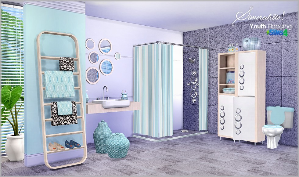 A small house for a single / couple with a modern and dark interior. My Sims 4 Blog: Youth Flooding Bathroom Set by Simcredible ...