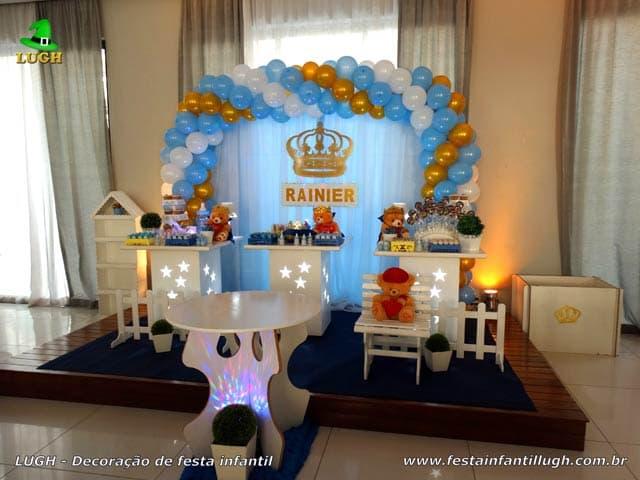 Decoração Ursinho Rei para Chá de Bebê - Chá de fraldas - Festa de aniversário de 1 aninho - Barra da Tijuca - RJ
