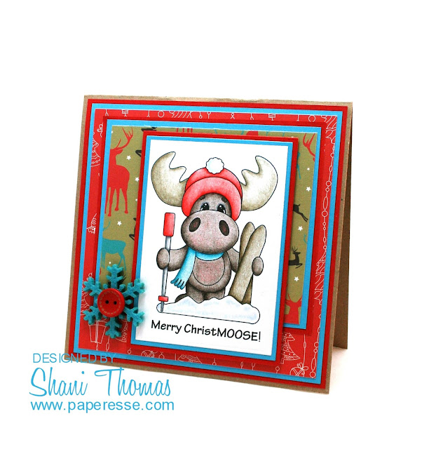 Merry ChristMOOSE card, by Paperesse.