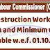 Construction Workers : V.D.A and Minimum wage payable w.e.f. 01.10.2018