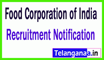 FCI Food Corporation of India Recruitment Notification