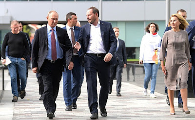 Vladimir Putin with Yandex CEO Arkady Volozh in Moscow office of Yandex IT Company.