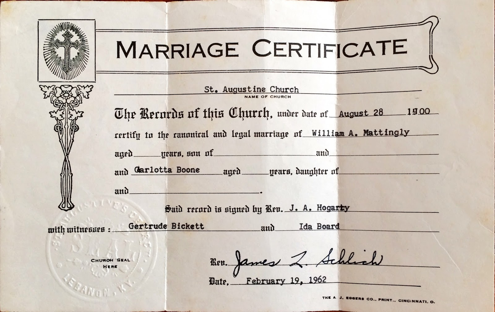 The old trunk in the attic robert i boone family annie boone born in 1879 she married ira willis walsh on october 27 1897 at st ivos church this certificate is at family search xflitez Gallery