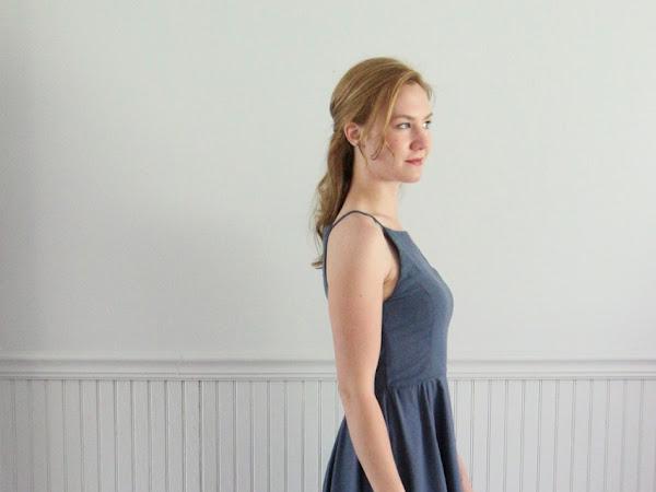 Slate Blue Bridesmaid Dress - Vogue 9252 in Silk Noil