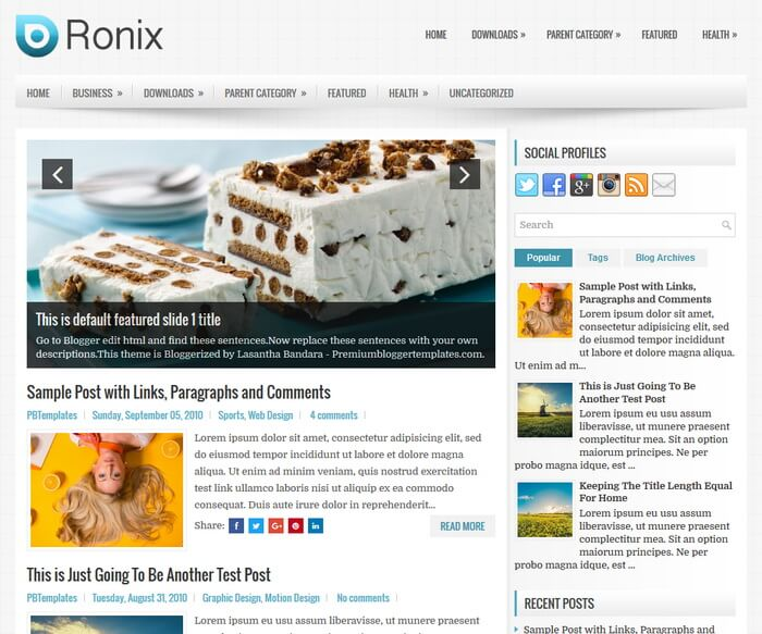 Free Download Ronix Blogger Template