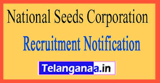 National Seeds Corporation India Seeds Recruitment Notification 2017