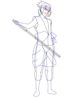 menggambar sasuke uchiha black costume langkah 15