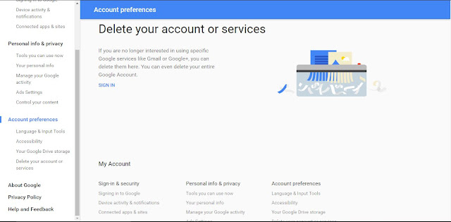 Delete Gmail Account View