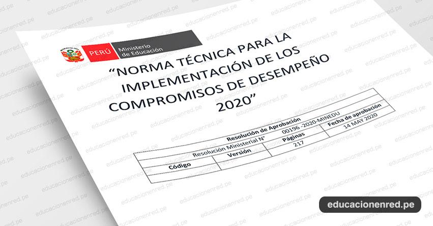 MINEDU publicó el Anexo de la R. M. Nº 196-2020-MINEDU, «Norma Técnica para la implementación de los Compromisos de Desempeño 2020»