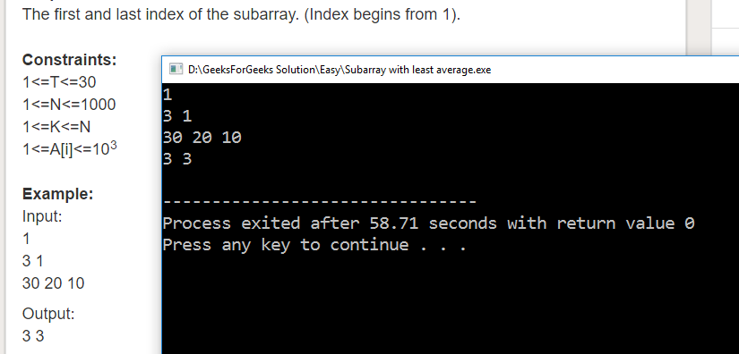 "Geeksforgeeks Solution For "" Subarray with least average """