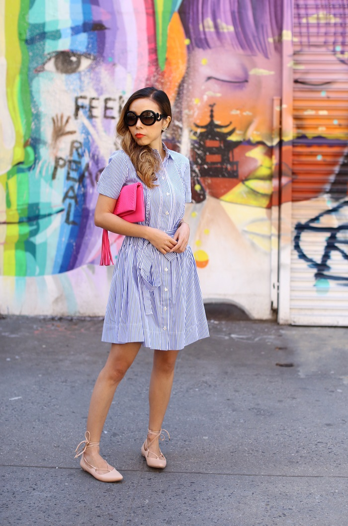 Kate spade stripe pleated shirt dress, gigi new york fold over clutch, lace up flats, prada sunglasses, moon and lola bracelet, street style, nyc street style, nyc street art, nyc blogger