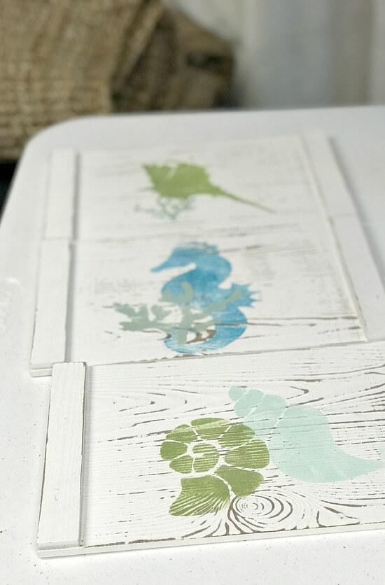 stenciled distressed coastal trays